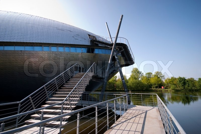 Bridge and steps to University Science Centre - Museum in Bremen, Germany, stock photo