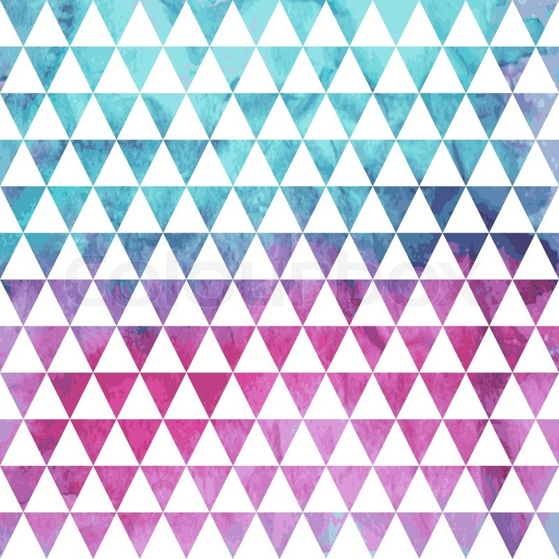 Vector Seamless Geometric Pattern On Watercolor Winter