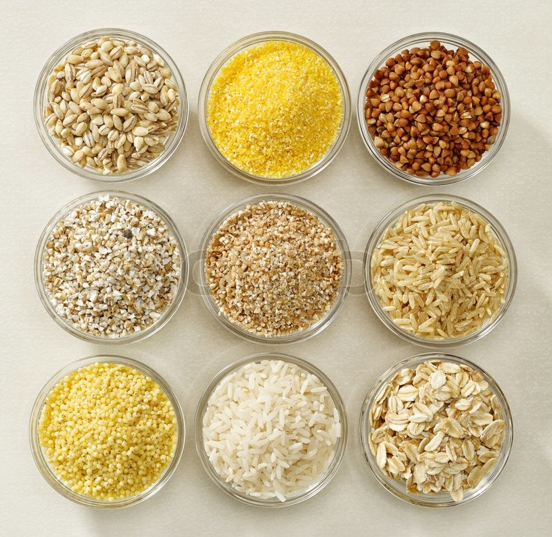 Various Kinds Of Cereal Grains In Glass Bowls