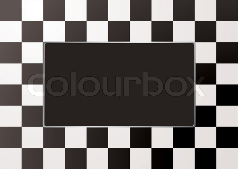 Black And White Checkered Picture Frame With Silver Bevel Stock