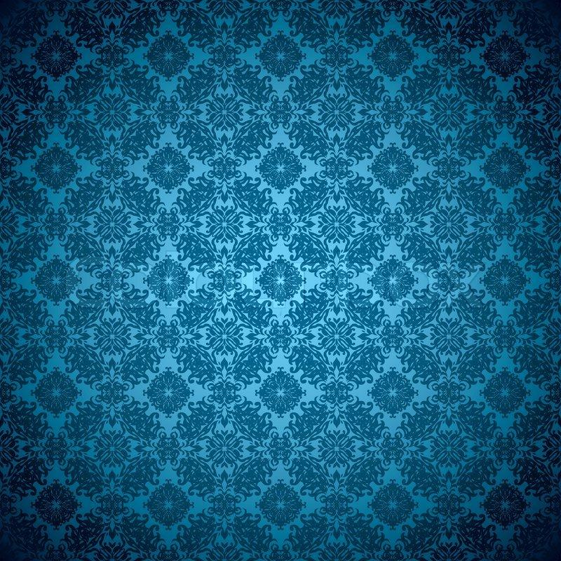 blue wallpaper pattern seamless design with floral. Black Bedroom Furniture Sets. Home Design Ideas