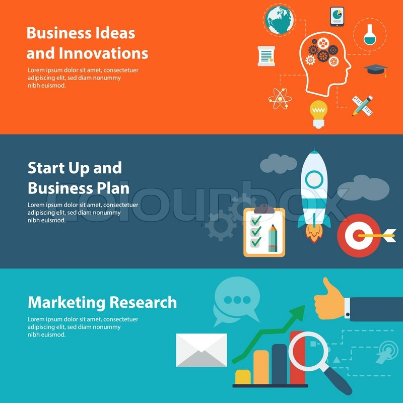 Flat Design Concepts For Business Finance Planning Marketing Research Start Up And Creating