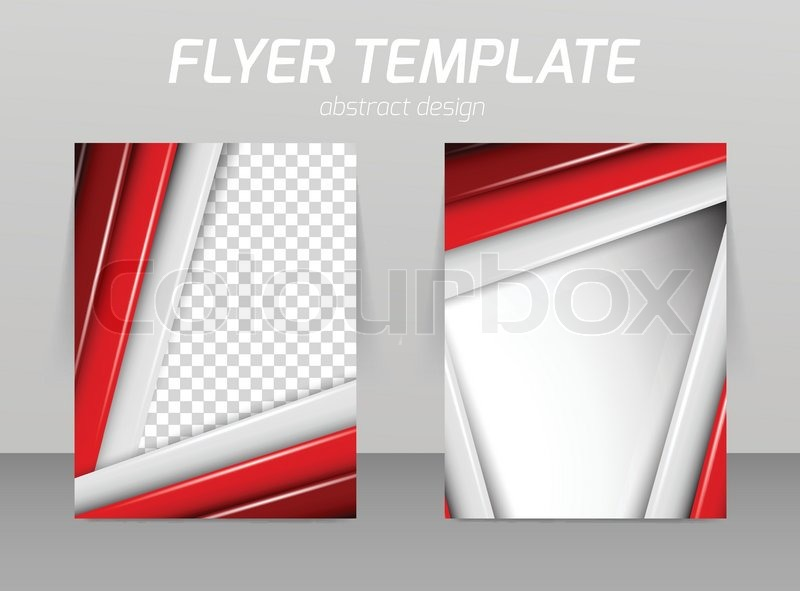 Flyer Template With Straight Red And Gray Lines  Stock Vector