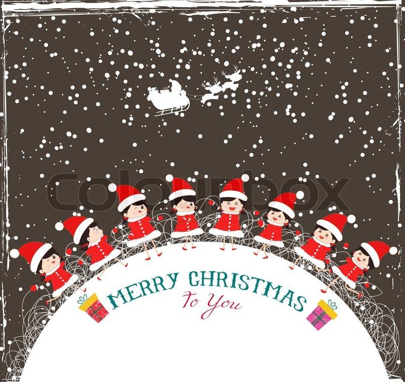 Christmas kids background children in circle winter | Stock Vector ...