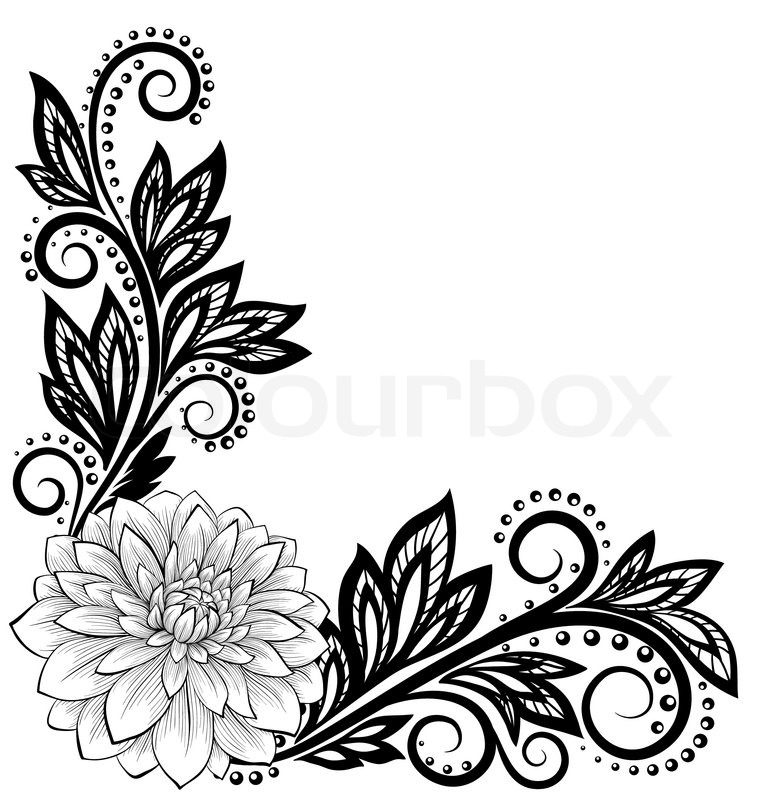 Flower Vector Black And White Beautiful Monochrome Black And White Lace Flower in The Corner