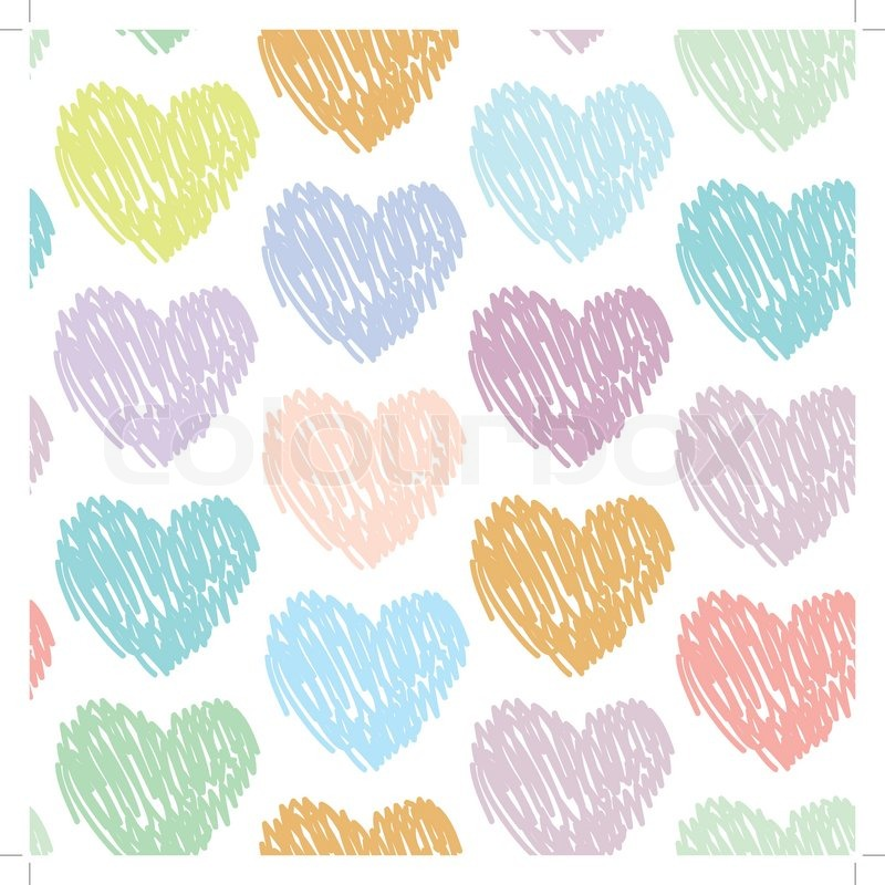 Seamless pattern with sketch hearts on a white background ...