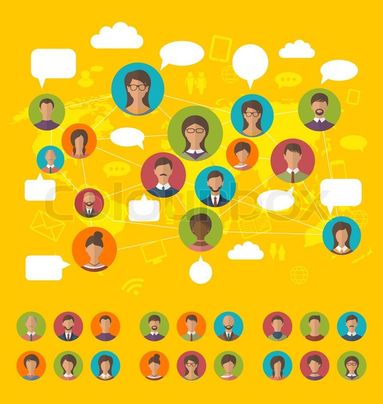 Illustration social network concept on world map with people icons illustration social network concept on world map with people icons avatars flat design vector vector gumiabroncs Image collections