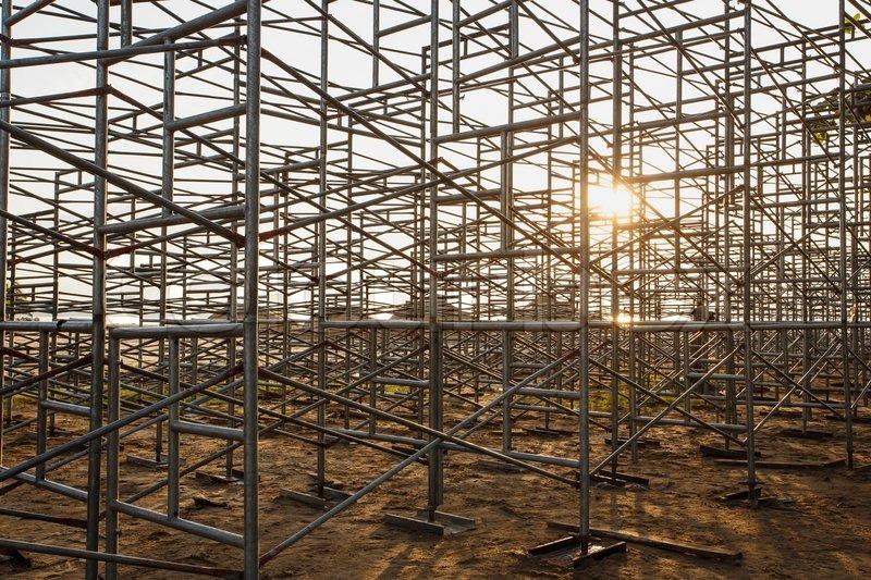Scaffolding Set Up : Steel scaffolding set up for temporary stadium in phuket