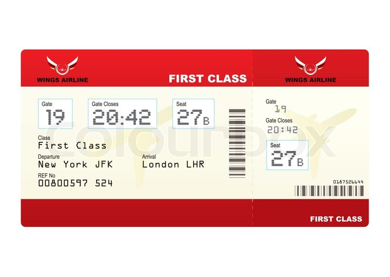 Red first class plane ticket with gate number and seat for Cost of plane ticket to germany