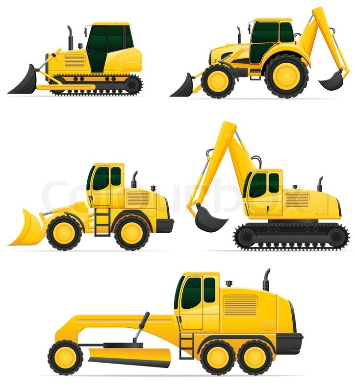 Car Equipment For Construction Work Vector Illustration Isolated On White Background