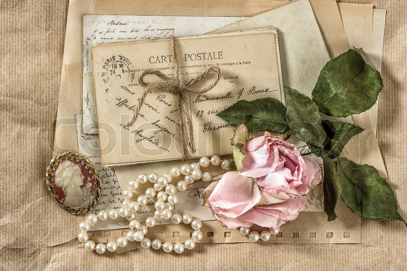 Good Old Letters, Postcards And Vintage Things. Nostalgic Paper Background With  Dry Rose Flower | Stock Photo | Colourbox