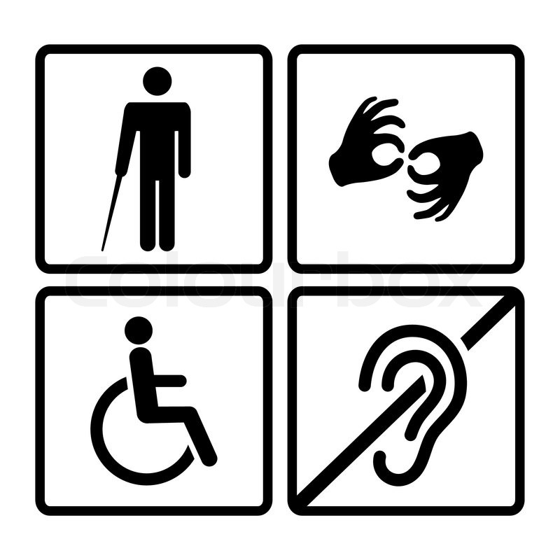 Vector Disabled Signs With Deaf Dumbmute Blind