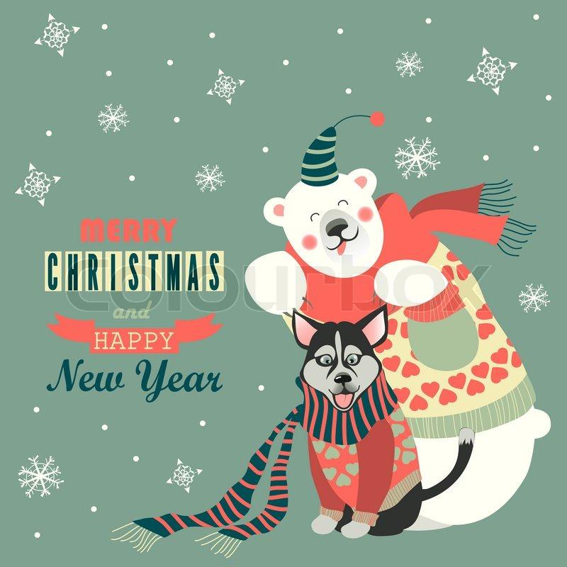 Husky Christmas Cards.Vector Greeting Card Cute Polar Bear Stock Vector