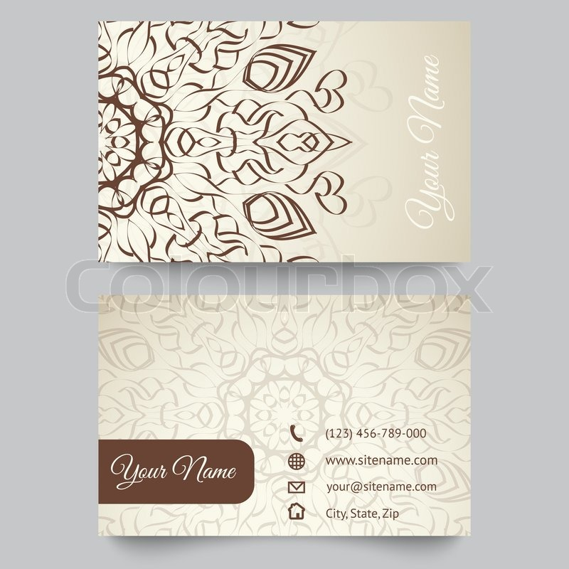 Business card template, brown and white beauty fashion pattern ...