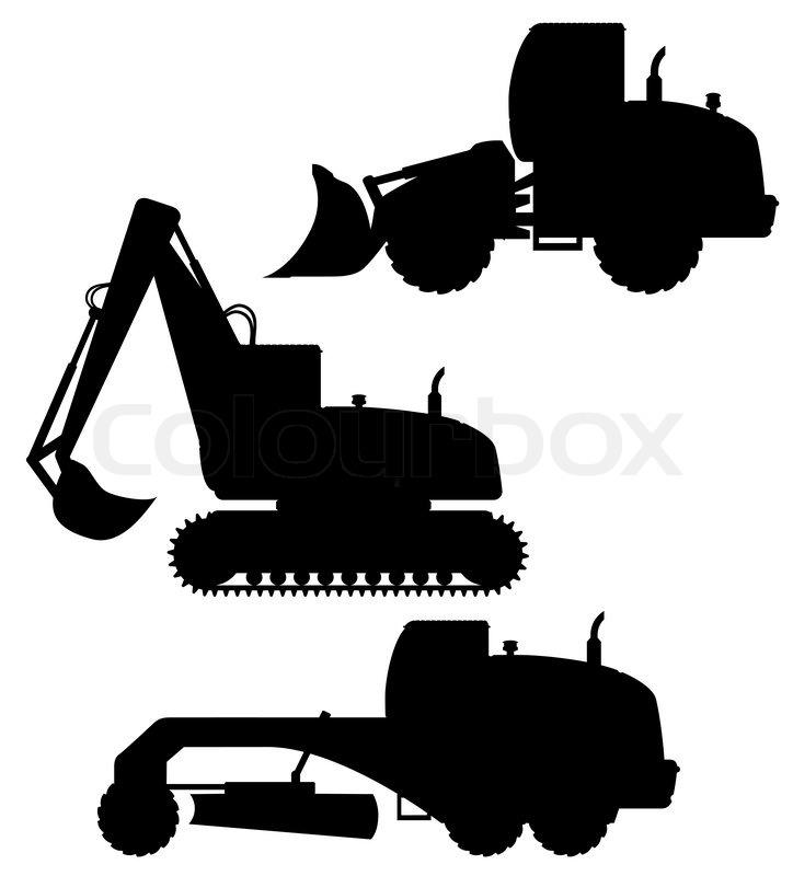 Heavy Equipment Silhouette : Car equipment for road works black silhouette vector