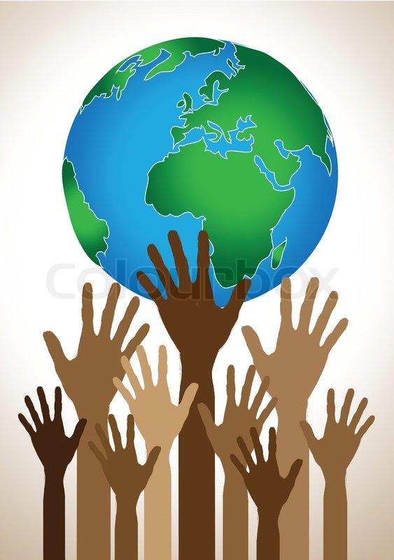 hand holding world and globe hands idea stock vector colourbox rh colourbox com world holding hands vector Open Hands Vector