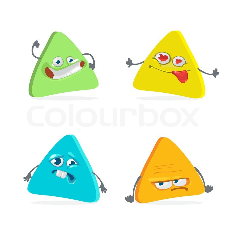 Triangle Cartoon Characters Cartoon Character Triangle With Many Expressions Vector