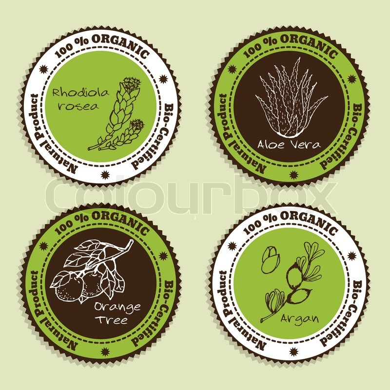 Set of natural organic product badges labels for essential oils aloe vera rhodiola rosea orange tree argan vector