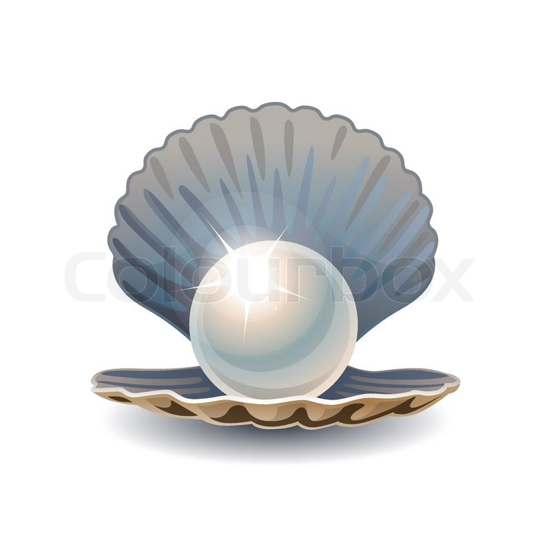 Shiny pearl in opened seashell. RGB EPS 10 vector ...