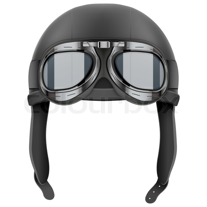Retro Aviator Pilot Leather Helmet With Goggles Vintage Object Illustration Isolated On White