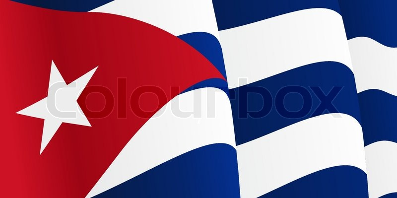 Nice Background With Waving Cuban Flag. Vector Illustration, Vector