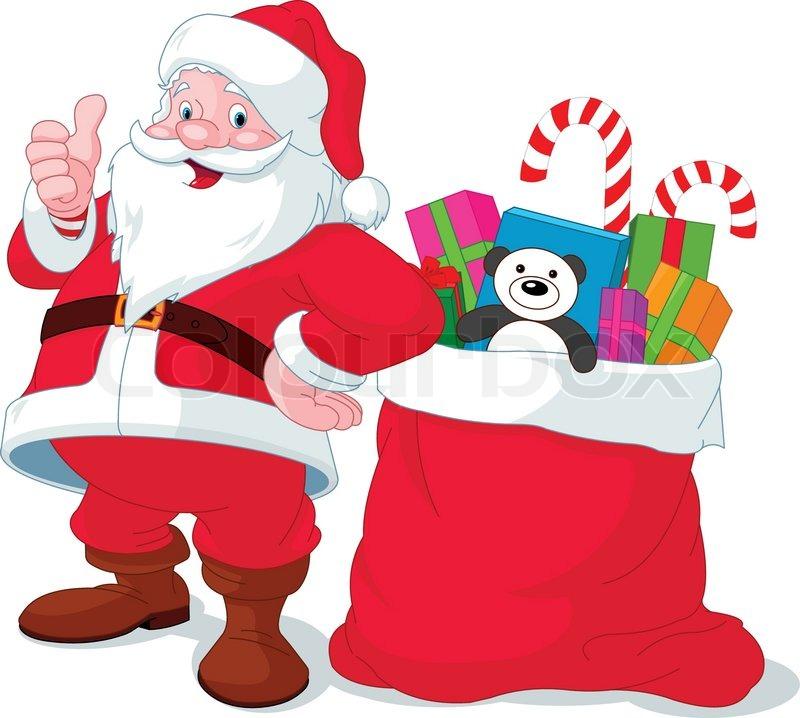 santa claus giving thumb up near sack full of gifts vector - Santa Claus Gifts