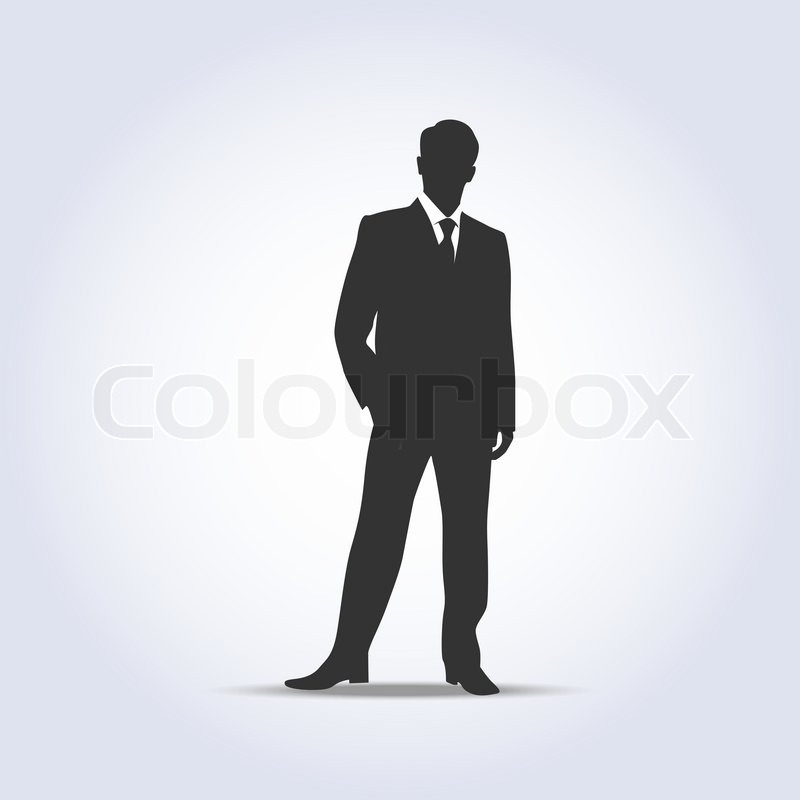 standing businessman silhouette gray color vector illustration