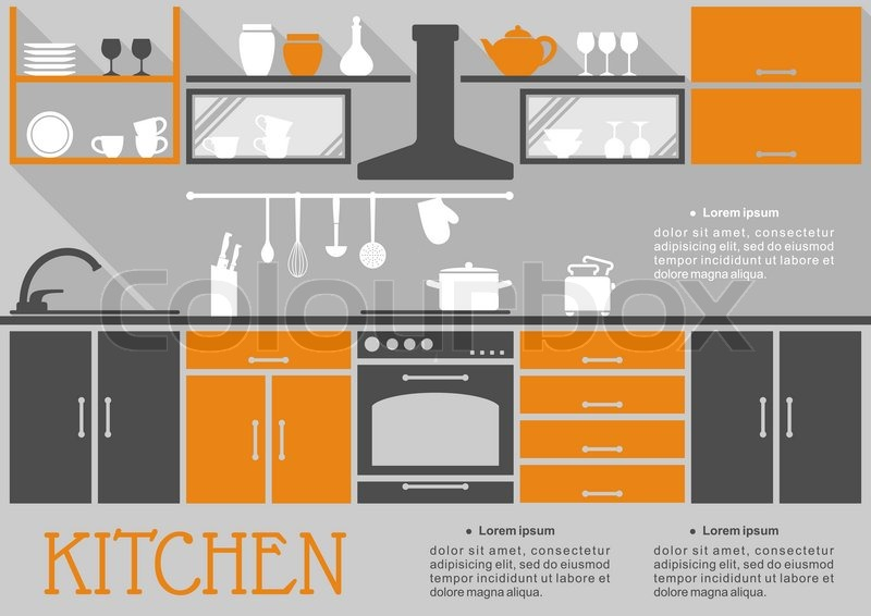 Stock vector of 'Flat kitchen interior design of a fitted kitchen with