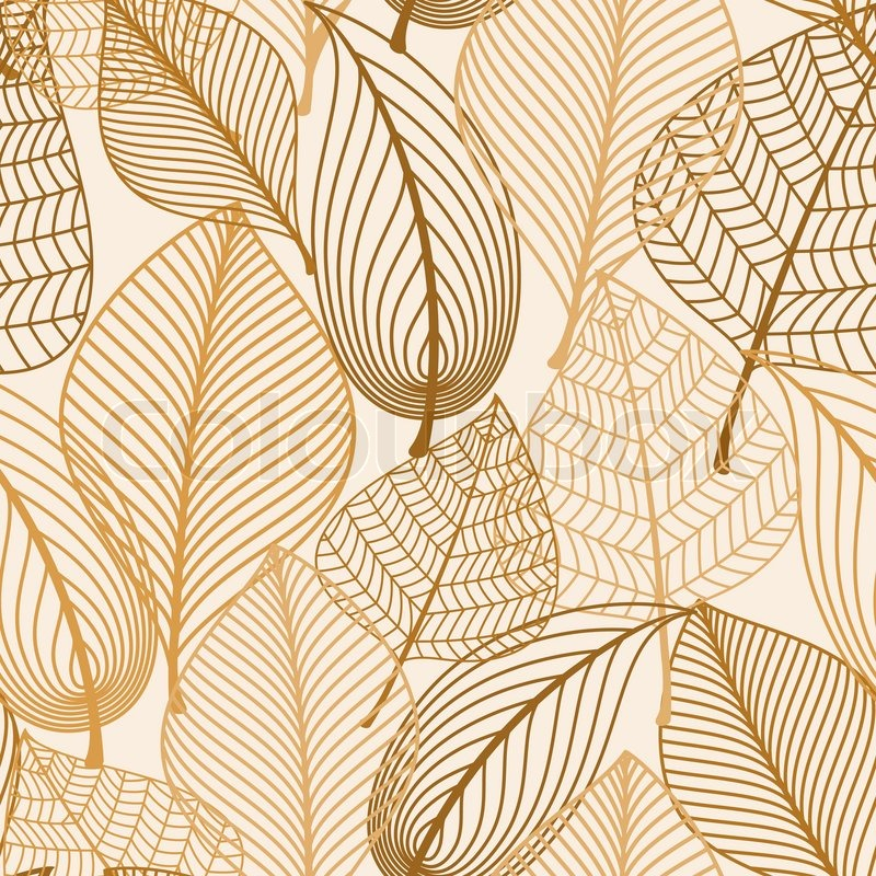 atumnal seamless pattern with brown leaves in silhouette