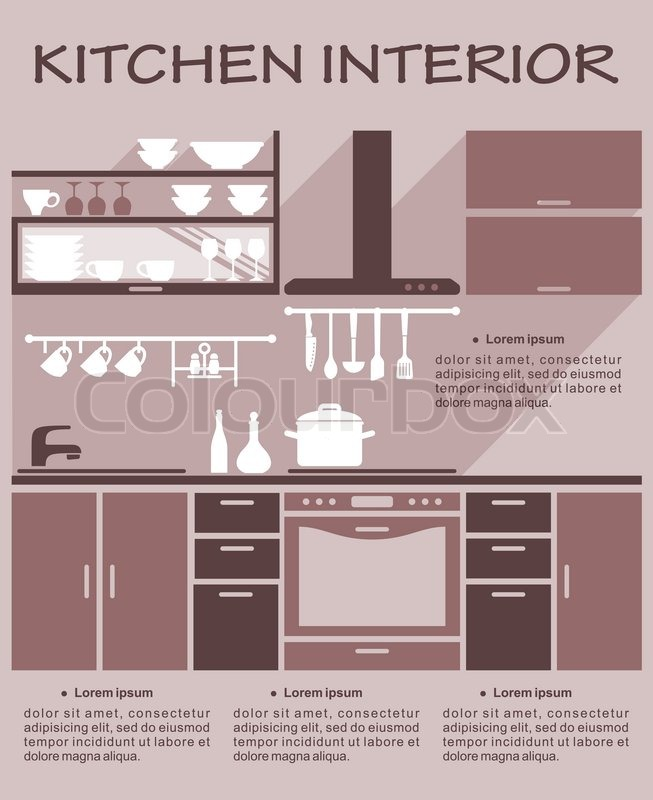 Flat Kitchen Interior Design Template For An Infographic