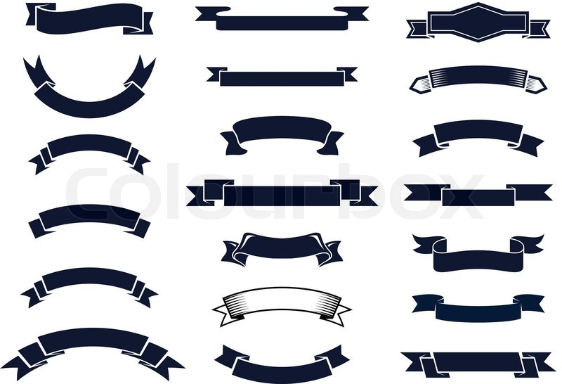 large set of blank classic vintage ribbon banners for design rh colourbox com ribbon banner vector free ribbon banner vector free