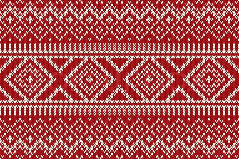 Seamless pattern ornament on the wool knitted texture. EPS ...