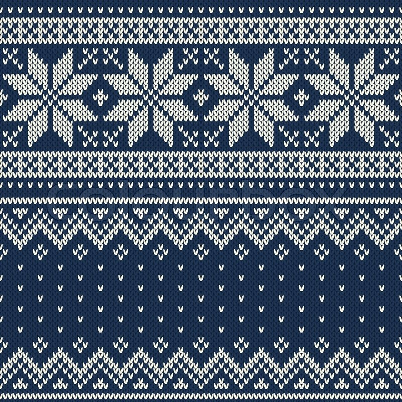Seamless pattern ornament on the wool knitted texture. EPS