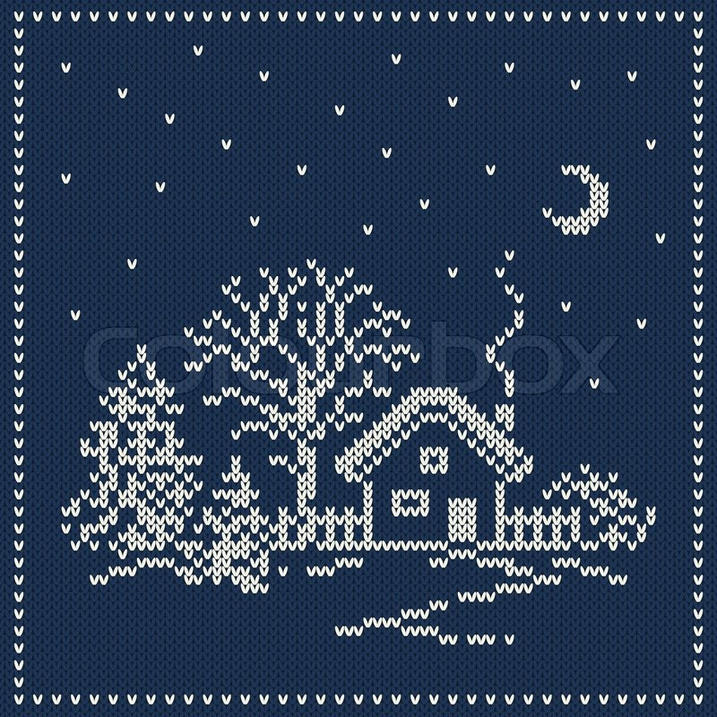 Winter Holiday Landscape Christmas Sweater Design Seamless Knitted