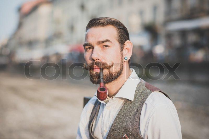 Handsome big moustache hipster man       Stock image   Colourbox