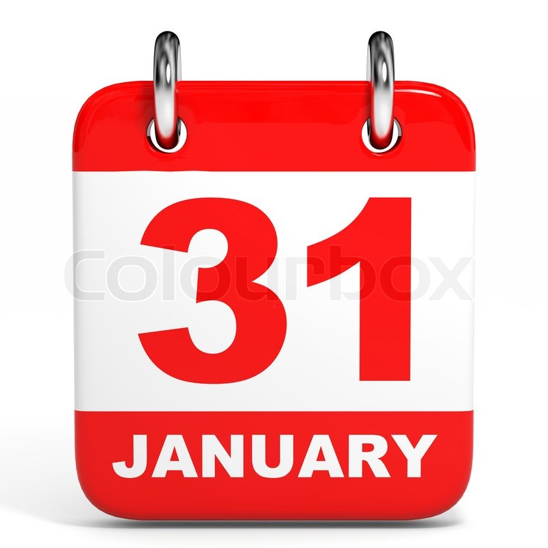 Calendar On White Background January D Illustration Stock - 31 jan