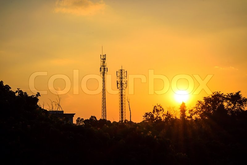 Sunset sky and cloud with silhouette antenna, stock photo