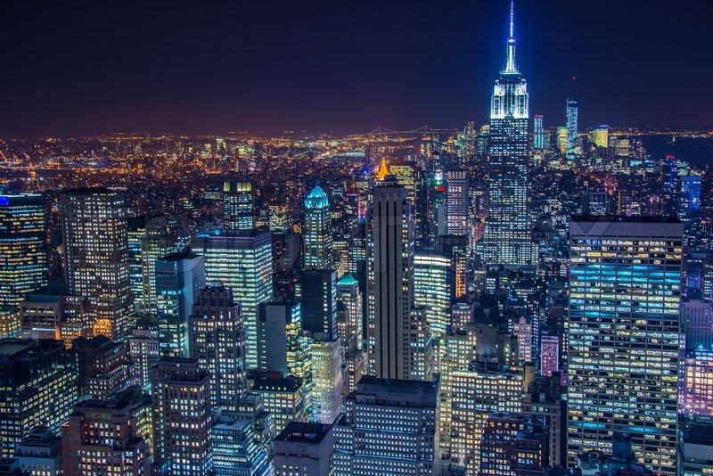 Famous Skyscrapers Of New York At Night Stock Image