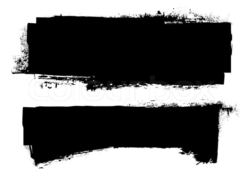 Black grunge ink banner with paint roller effect Stock Vector