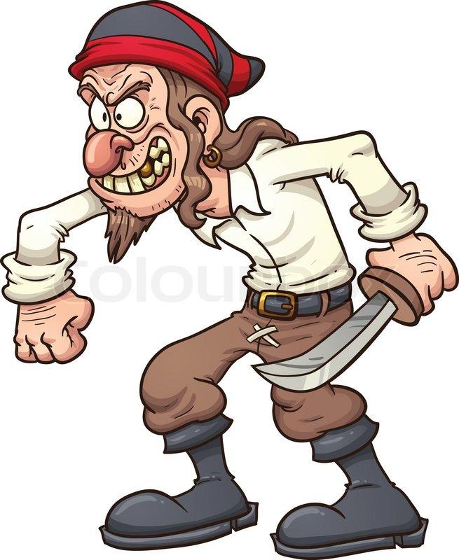 crazy cartoon pirate vector clip art illustration with simple rh colourbox com Anime Pirate Male Human Male Pirate Art
