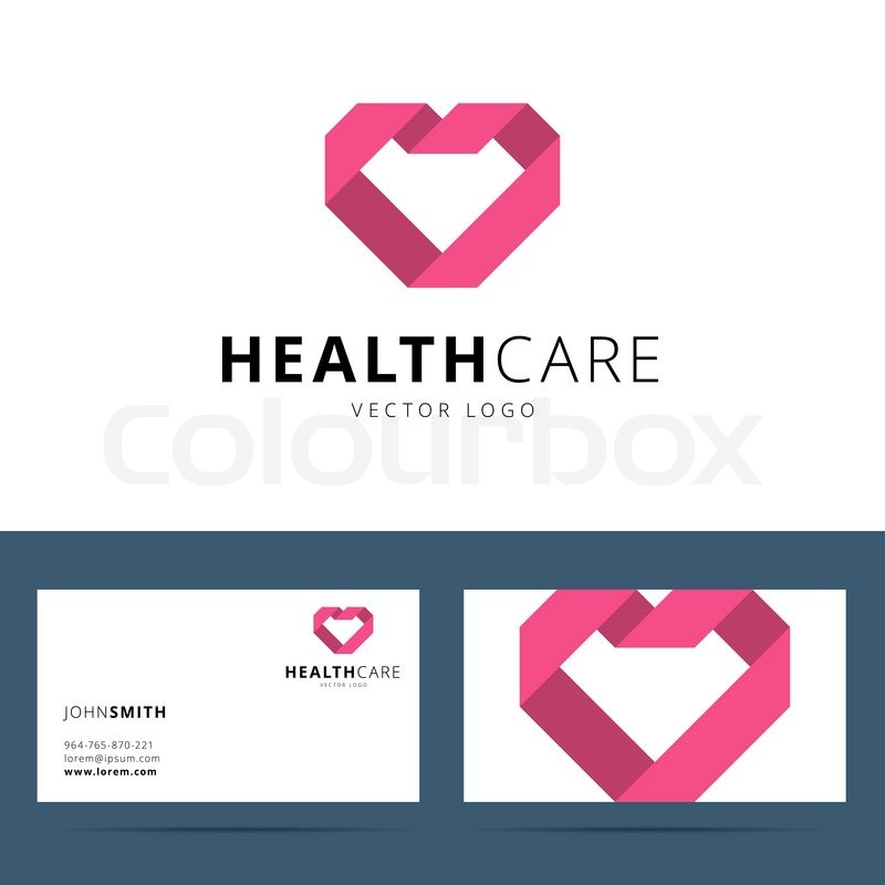 Health care vector logo template and business card template with health care vector logo template and business card template with heart shape sign vector illustration vector reheart Images