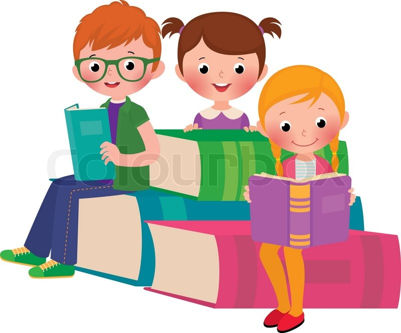 stock vector cartoon illustration of a group of children reading a book stock vector colourbox - Cartoon Image Of Children