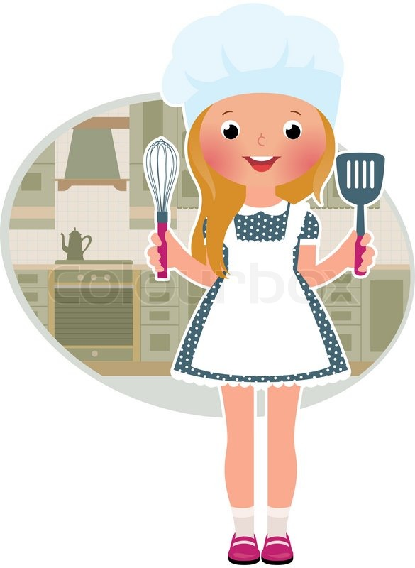 Stock Vector Illustration Of Cute Little Girl Cook In The Kitchen