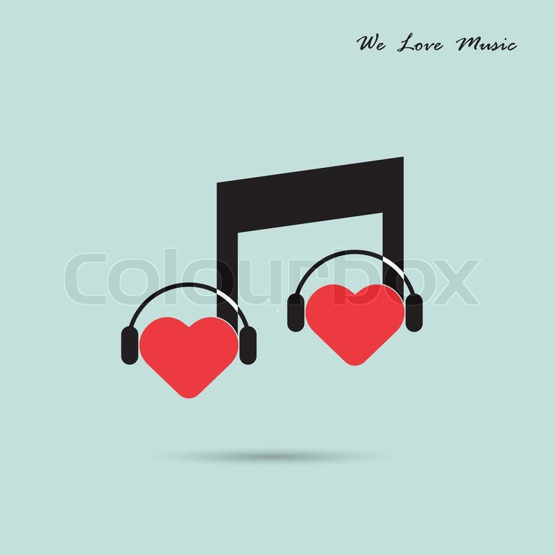 Creative Music Note Sign Icon And Silhouette Heart Symbol Love And