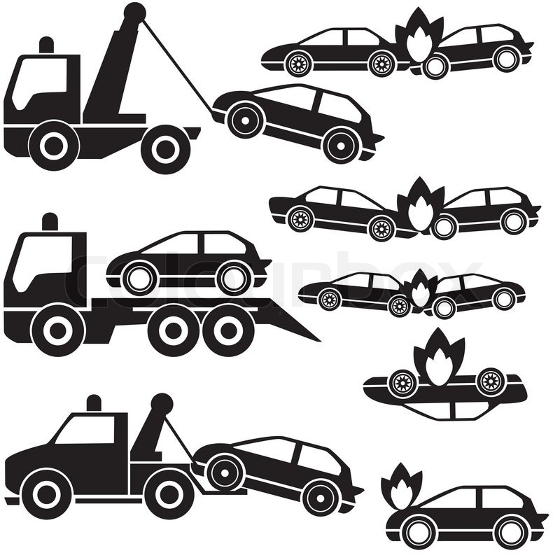 Black Tow Truck Icons And Car Crash Stock Vector Colourbox