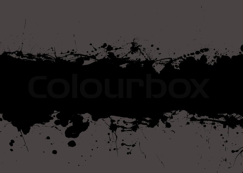 Dark black grunge ink splat banner with grey background and ...