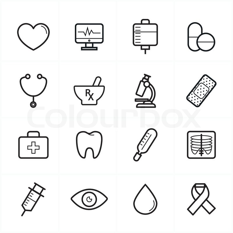 Flat Line Icons For Medical Icons and Health Icons Vector ...