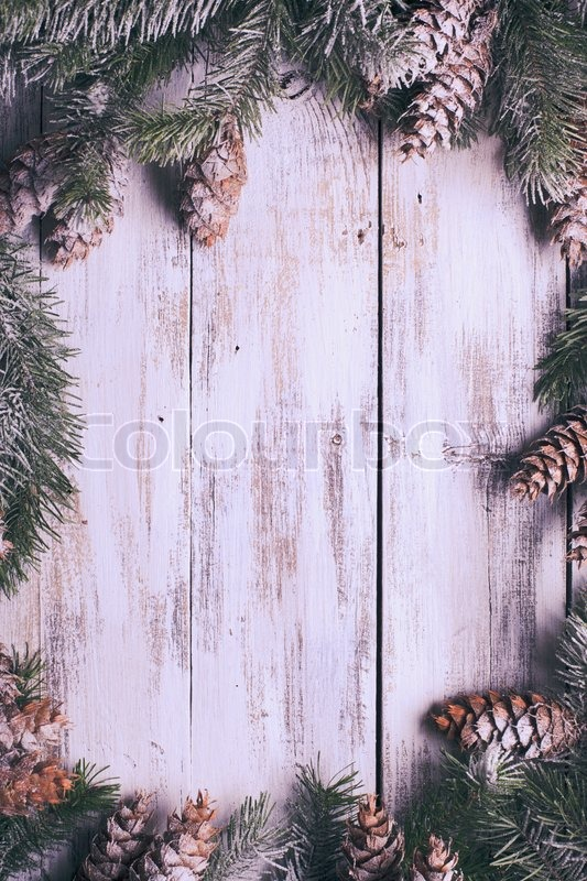 White shabby Christmas border with snow covered pinecones, stock photo
