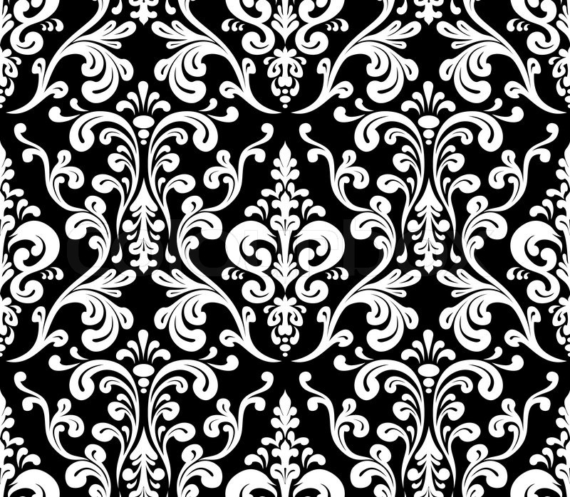 Vector seamless elegant damask pattern black and white for Black white damask wallpaper mural