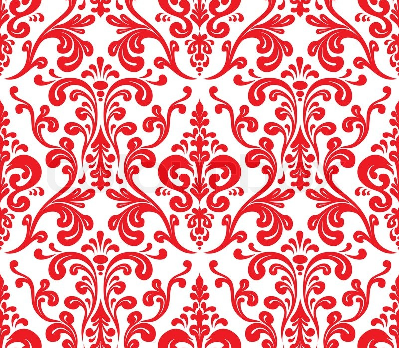 Red And White Patterned Wallpaper: Vector. Seamless Elegant Damask ...